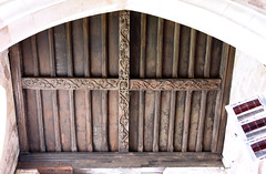 Tong, Shropshire, St. Bartholomew's church, south aisle, east bay, roof beams (groenling) Tags: tong shropshire salop westmidlands wolverhampton england britain greatbritain gb uk stbartholomewschurch southaisle eastbay roof beam wood carving woodcarving foliage vine berry oak acorn