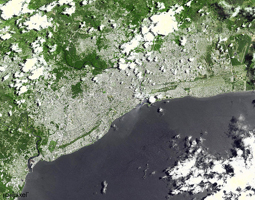 Santo Domingo, the capital of the Dominican Republic. Original from NASA. Digitally enhanced by rawpixel.