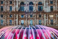 Dissolving Genova (FButzi) Tags: genova genoa liguria italy italia piazza de ferrari building fountain fontana lights colored videomapping videomapped
