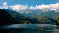 #riza #lake #clouds #mountain #mountains #abkhazia #water #boat #ship #traveling #tourism (jose6210) Tags: mountain mountains ship tourism traveling riza clouds lake abkhazia water boat