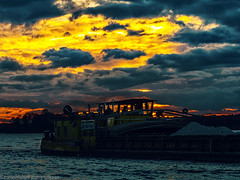 Driving into the night (Steppenwolf33) Tags: boat sunset steppenwolf33 clouds sky vessel berlin köpenick seddinsee lake