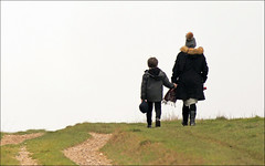 Time Together (jo92photos) Tags: walking countryside theridgeway berkshire motherandson exercise track winter hats candid