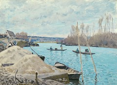 Tas de sable sur le quai au Port-Marly (Sisley) (photopoésie) Tags: sisley 1875 portmarly