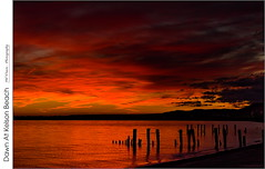 Dawn At Kelson Beach (jwvraets) Tags: grimsby winona hamilton lakeontario kelsonbeach fiftypoint groynes water beach niagaraescarpment dawn sunrise clouds opensource rawtherapee gimp nikon d7100 fsdxnikkor18105mm