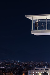 Hanging high selfie (Kostas Karageorgiou) Tags: architechtural nightshots kpisn ef24105mm f4l is ii usm canon eos 5d mark iv greece athens stavros niarchos cultural center selfie couple city lights reflection