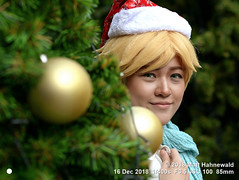 2018-12a Jingle-belling in Bangkok (04) (Matt Hahnewald) Tags: matthahnewaldphotography facingtheworld people character head face eyes green contactlenses expression lookingatcamera story yellow hair wig cap christmas hat santaclaushat tree decorated consent concept humanity living culture tradition hobby cosplay fun traditional cultural cosplayer downtown bangkok thailand asia asian thai individual oneperson female girl young woman photo background nikond610 nikkorafs85mmf18g 85mm 4x3ratio resized 1200x900pixels horizontal street portrait closeup faceshot threequarterview sidewaysglance outdoor posing soulful clarity colour