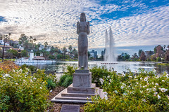 Queen of the Angels Statue and the Rose Garden at Echo Park Lake (SCSQ4) Tags: california donutstreetmeet echopark echoparklake losangeles morning queenoftheangels queenoftheangelsstatue statue