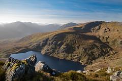 Ffynnon Llugwy, Snowdonia (Frightened Tree) Tags: ogwen valley wales mountain lake mount mynydd cwm glyder fawr fach tryfan y garn glyderau tamron 2470mm carneddau carnedd llewelyn dafydd pen yr helgi du bwlch eryl farchog a5 travel mist winter sunshine clouds glow