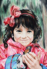 Annie's Butterfly (Skyler Brown Art) Tags: mayahaines art artwork bow brunette bug butterfly children clothing coloredpencil colorful cute drawing face fashion female fun girl gorgeous hair happy joy light paper people pink portrait smile sweet