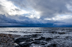 Bright But Cold!! (BGDL) Tags: lightroomcc nikond7000 bgdl landscape odc nikkor18105mm3556g seascape prestwick beach rocks firthofclyde clouds weather sky