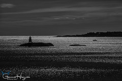 Silver Sea (GunnarImages (Gunnar Haug)) Tags: fjord lighthouse norway bjørnskjær puresilver water blue reflection visitnorway seawater pretty silversea coast risør sea
