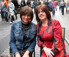 Me with Hazel , one of the nicest sweetest  girls you could ever wish to meet xx (janegeetgirl2) Tags: transvestite crossdresser crossdressing tgirl tv ts trans outside london dress outdoors sightseeing wrap converse shoes
