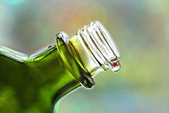 Star Drops (Through Serena's Lens) Tags: smileonsaturday bottleneck green bottle glass bokeh dof reflection macro canoneos6dmarkii star miniature drops