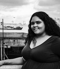 Senior Photo 11/10/18 No 24 (jenelle.melchior) Tags: girl model black white monochrome seattle city water beach ocean landscape portrait