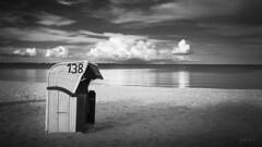 End of season (fotobagaluten.de) Tags: scharbeutz balticsea ostsee beach strand basketchair wolken clouds water wasser sea meer bnw sw balckandwhite schwarzweis fotobagaluten