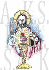 Lopsided Jesus (Moiret) Tags: lopsided jesus fun humour joke drawing merry christmas handdrawn freehand penandpaper god christianity wine coffee hangover cure heal illustration burning heart