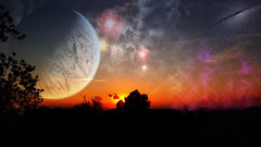 Cosmic landscape (Iforce) Tags: landscape cosmos universe colors sunset sky art design digital planet stars awardtree