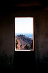 Brunate (cranjam) Tags: ricoh gr1 gr1v film kodak ektar100 italy italia lombardia como lakecomo lagodicomo brunate alps alpi mountains montagne lario view faro lighthouse farovoltiano lake lago lagodimontorfano window finestra