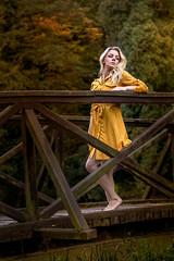 on the bridge (Irena Rihova) Tags: autumn fall portrait portraiture woman female yount beautiful beauty blonde blondie blond dress yellow nature natural light barefoot noshoes feminity cute sexy bridge