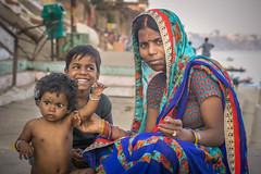mother and her little ones (andy_8357) Tags: people person sigma 60mm f28 art dn portrait family mother children child varanasi uttar pradesh difficult life sari woman sony a6000 6000 ilcenex alpha mirrorless india ganges ganga street photography portraiture colorful