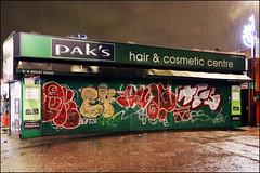 Oker, Ensa, Ofske, TFS... (Alex Ellison) Tags: oker gsd ensa ofske lwi 406 rl tfs throwup throwie shop store shutter night eastlondon urban graffiti graff boobs