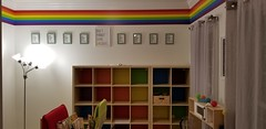 Freshly Painted Homewood Playroom, after. Rainbow!