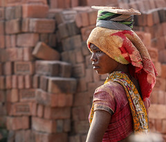 The Princess and the Pea(ce) (ybiberman) Tags: varanasi india utterpradesh woman working bricks brickfactory sari dust barefoot people streetphotography candid tough elegant gaze stronggaze