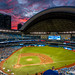 A hell of a night in Rogers Centre     *Explored #174* (Stephan Neven) Tags: sunset toronto torontobluejays atlantabraves baseball mlb rogerscentre canada night stadium evening sky burning red dusk purple outdoor game regularseason