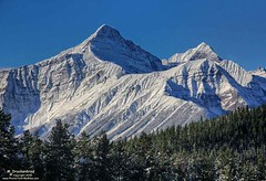 Rugged Peaks, Icefields Parkway, Banff National Park in Alberta Canada (PhotosToArtByMike) Tags: icefieldsparkway banffnationalpark canadianrockies ruggedpeaks blue sky saskatchewanrivercrossing mountainview banff albertacanada mountain mountains alberta