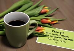 coffe break (ingrid eulenfan) Tags: 2019 kaffeepause coffeebreak 365project kaffee coffee cup coffeepot tasse blumen flowers spruch karte tulpen tulip tulips sigma30mm