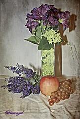 Still Life (Lavanda) (bruixazul poc a poc...) Tags: bodegón stilllife lavanda campanillas manzana uva cristal texturas ღღentreamigosღღproyecto365días