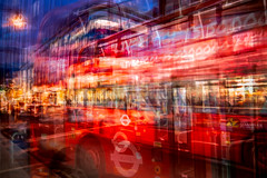 Buses come, buses go (RCARCARCA) Tags: shopping photoshop canon orange red bustle blue busy photoartistry london hustle topaz eosr bus movement traffic oxfordstreet 24105l buses westend