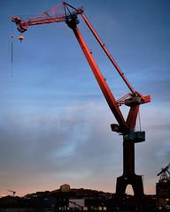 Shipbuilding crane in morning light (Thomas Barregren) Tags: morning light