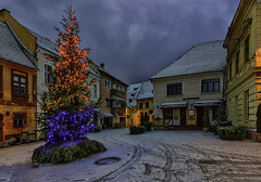 . (George Nutulescu) Tags: brasov building buildings blue architectural architecture winter white city church cityscape color colors cityart town tree christmas medieval mountain monument square