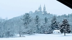 Holy Hill (quirkyjazz) Tags: basilica holyhill wisconsin snowyday snowfall church stainedglass trees landscape winter scene catholic