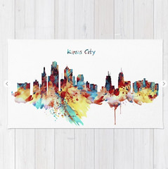 Kansas City Skyline Silhouette Rug (marianv2014) Tags: kansascity missouri skyline skylines silhouettes citysilhouette watercolor wallart skylineart skylinepainting aquarelle purple red yellow blue splatters splashes watercolorpainting watercolorskyline cityart citysymbols modernpainting americancities roomdecor artgifts affordableart illustration artwork art colorful beautiful city decor landmark rugs