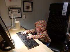 """""""Working on the alphabet"""" (quinn.anya) Tags: paul toddler ikea desk keyboard working"""