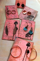 copper love group shot (msficklemedia) Tags: handforged artisanjewelry handcrafted earrings recycledmetal stone beads sterling silver missficklemedia