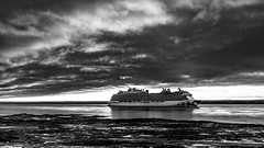 Ship on the St-Lawrence River, Quebec, Canada (Agirard) Tags: ship bw blackwhite nb noirblanc monochrome orleansisland orleans island ile quebec canada river stlawrence stlaurent stjean loxia 35mm loxia35mm 235 zeiss sony a7ii landscape