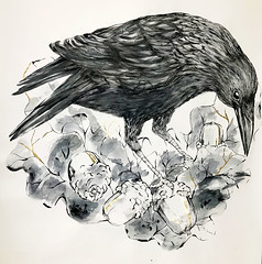 Crow - large scale work (Sharon Farrow) Tags: bird birdillustration crow largescaleart handdrawn nature naturalworld natureillustrated natureillustration illustration illustrator illustratedbirds illustratednature wildlife wildlifeillustration sharonfarrow paint pencil goldleaf mixedmedia blackandwhite acorns plants leaves feathers