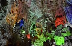 Thien Cung Grotto Cave (Seventh Heaven Photography *) Tags: ha long vietnam nikon d3200 thien cung grotto cave light rock green blue orange