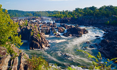 Great Falls National Park, Overlook 2, Virginia (GSB Photography) Tags: greatfalls potomacriver maryland america usa river waterfall chute rapids sunlight water rush rocks trees foliage sky clouds flow vista overlook nikon d5300