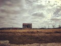 IMG_5642 (jessalynn_sammons) Tags: iphone derelict decay abandon barn abandoned field clouds sky sun farm