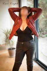 elle371 (Cuir Couple) Tags: cuir leder leather cuero veste jacket jupe skirt pantalon pant hosen mistress maitresse cuissardes maître master bondage bdsm