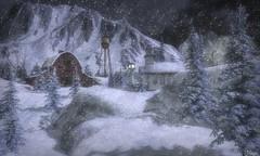 Country Christmas (Loegan Magic) Tags: secondlife christmas snow night sky trees barn church village watertower winter
