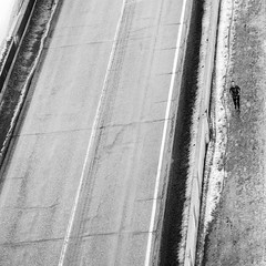 Stay In Your Lane ... (Mister Day) Tags: runner lookdown city blackandwhite oneperson perspective winter january street