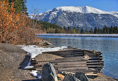 Construction platform on the Rundle Canal with Grotto Mountain in the background, Grassi Lakes Canmore (PhotosToArtByMike) Tags: grassilakes grottomountain rundlecanal canmore rundlehydroelectricgenerationstation albertacanada alberta bowvalley canadiancity southerncanadianrockymountains canmorenordiccentreprovincialpark town city rockymountains provinceofalberta bowriver