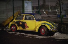 beetle at night (try...error) Tags: vw volkswagen bug yellow gelb available light abandoned decay urban street