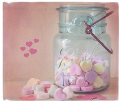 Sweet Hearts (JMS2) Tags: pink candy hearts valentine texture stilllife jar vintage sweets