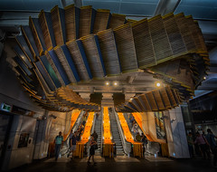 The Old Wooden Escalators (Peter Polder) Tags: cityview australia building cityscape cityscapes people history interior city sydney street railway